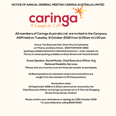 NOTICE OF ANNUAL GENERAL MEETING CARINGA AUSTRALIA LIMITED.