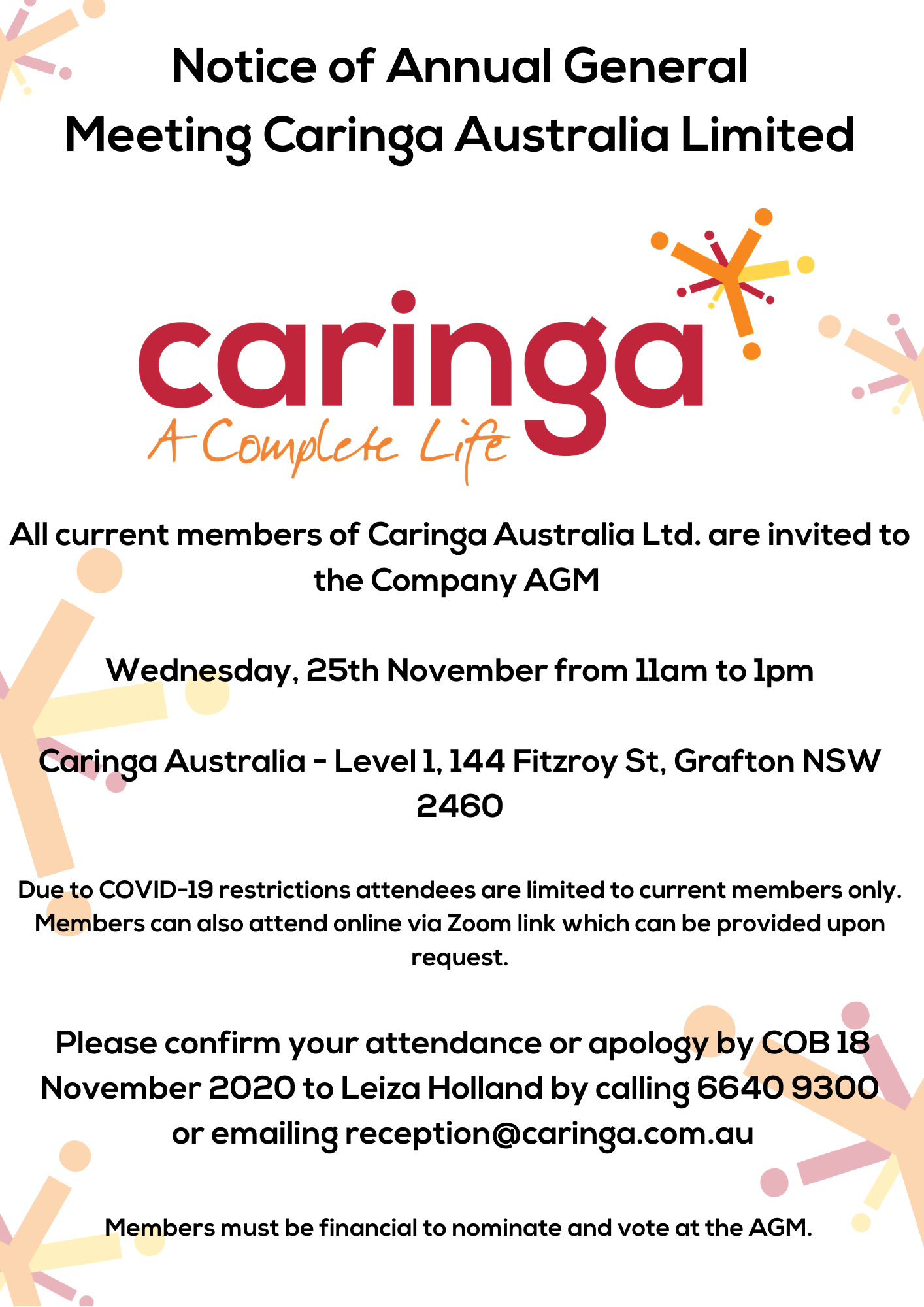 Caringa Australia Limited Notice of Annual General Meeting 2020